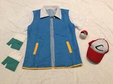 "NEW Adult XS Pokemon Ash Ketchum Fancy Dress Costume 34-36"" Shirt Hat Gloves Set"