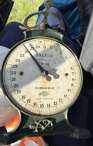 """Vintage Cast Iron """"SALTER"""" Household Scales No.46 To Weigh 28lb"""
