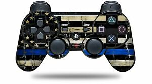 Skin for PS3 Controller Painted Cracked Blue Line Stripe USA American Flag