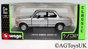 1972 BMW 2002 tii 1:32 Scale Die-cast Metal Model Classic Car Stand Case Bburago