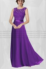Lace Chiffon Long Bridesmaid Wedding Dresses Evening Formal Party Ball Prom Gown