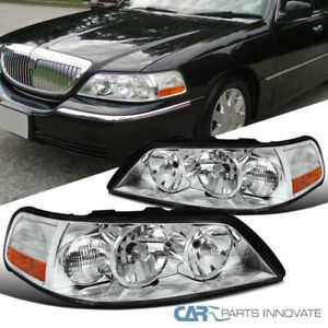 For 05-11 Lincoln Town Car Replacement Clear Headlights Headlamps Set Left+Right