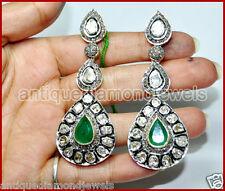 Look 925 Silver Earring Chandelier 4.41ct Rose/Antique Diamond Emerald Victorian