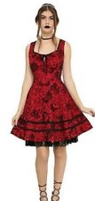 Hot Topic red dress corset lace-up rockabilly pin-up fit & flare skull design M