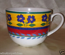 "VISTA ALEGRE PORTUGAL BLUE FLOWERS BREAKFAST CUP MUG 4 1/2"" YELLOW & RED BANDS"