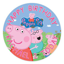 PEPPA PIG PERSONALISED EDIBLE ICING IMAGE PARTY CAKE TOPPER ROUND