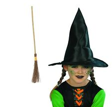 Girl's Tall Witches Fancy Dress Hat & Broomstick Halloween Trick Or Treat Party