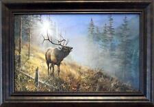 """Jim Hansel """"Song in the Mist"""" Elk Framed Decorator Print   14.5"""" x 10"""""""