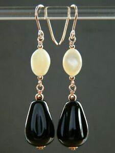 Art Deco Moulded French Jet Drops, Mother of Pearl & Rolled Rose Gold Earrings