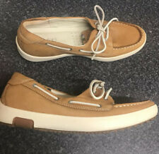 Ecco Size 40 / UK 7 Tan Brown Leather Boat Deck  Shoes Trainers Comfort Holiday