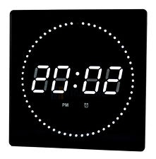 LED Wall clock Temperature Alarm clock Date Studio watch with second run-light