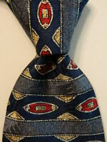 CLAYBROOKE EXECUTIVE Men's Silk Necktie USA Designer Geometric Blue/Gray/Red EUC