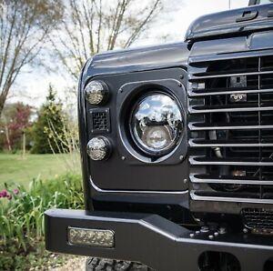 Land Rover Defender Satin Black Mesh Vent Headlight Surrounds - Uproar 4x4