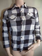 Arizona Jeans Co L/S Womans Flannel Shirt Black & White Check Cotton Sz M VGC