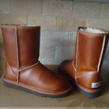 UGG Classic Short Boots Chestnut Waterproof Leather Sheepskin US 5, fits Kids 3