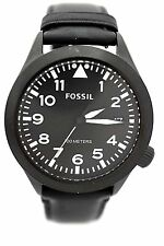 FOSSIL MEN watch  AM4515 Aeroflite Black Leather Brand New Box Retail $115