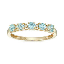 Pinctore 10k Yellow Gold Blue Zircon and Diamond Accented Stackable Ring, Size 7