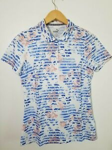 1 NWT PUMA WOMEN'S SHIRT, SIZE: SMALL, COLOR: WHITE/BLUE/CORAL (J46)