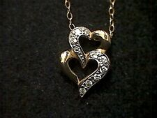 925 Silver Gold Tone CZ Double Heart Pendant and Chain
