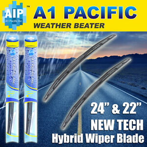 "Hybrid Windshield Wiper Blades Bracketless J-HOOK OEM QUALITY 24"" & 22"""
