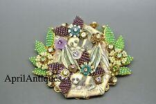 Vintage Stanley Hagler Púrpura Verde Flor Con Cuentas Panda Motivo Broche Grande