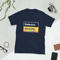 Embrace Diversity Movement Protest Slogan NAVY T-Shirt Sizes Adult Small to 3XL