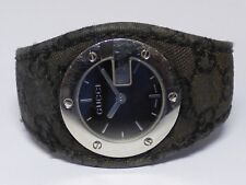Auth GUCCI G Bandeau 104 Black Silver White Leather Womens Wrist Watch