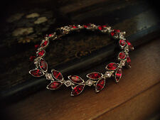 Vintage Navette Marquise Ruby Red & Light Amethyst Crystal  Bracelet