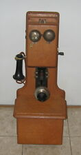 Vintage Oak S H Couch Company Wall Mount Crank Telephone w/ Ericsson Mouthpiece