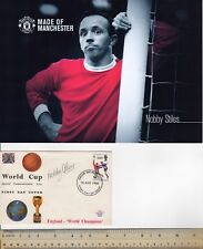 NOBBY STILES MAN UTD & ENGLAND LEGEND SIGNED 1966 WORLD CUP FDC + PHOTO PAAS