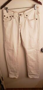 True Religion Womens Ivory Jordan Straight Leg Jeans sz 28