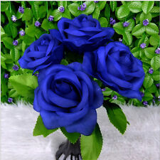 New Rose Head Silk Artificial Flowers Home Decors Rose Floral Posy Bouquet Bunch