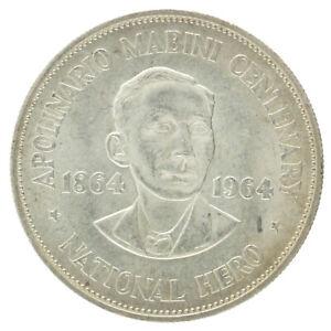 Philippines - Silver 1 Peso Coin - 'Apolinario Mabini Centenary' - 1964 - XF+