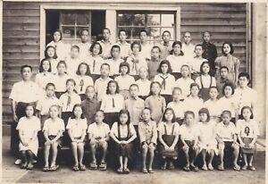 OLD PHOTO ASIA JAPAN JAPANESE SCHOOL CHILDREN UNIFORM BOY GIRL BX1