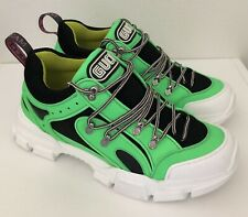 NIB GUCCI Neon Green Reflective Flashtrek Hiking Sneakers Shoes Size 10.5/11.5US
