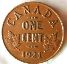 1921 CANADA CENT - Scarce Early Date Coin - FREE SHIPPING - Big Canada Bin
