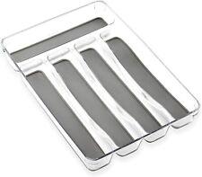 Bino 5-Slot Silverware Organizer, Grey - Utensil Drawer Organizer Soft Grip