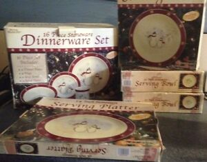Royal Seasons Snowman Dinnerware 16 pc set + 3 Serving Bowls + Platter- LAST LOT