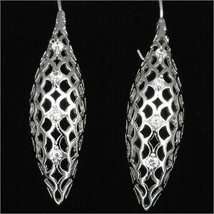 """2.1"""" Fashion 18K W GP Dangle Drop Earrings Costume Jewelry CZ Clear 3D New 490"""