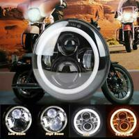 7inch Motorcycle Round LED Headlight High Low Beam Halo Angle Eyes For Harley