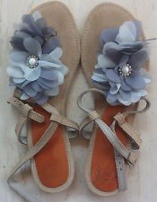 Suede Leather Handmade shoes flat sandal beige blue ankle strap 7,5/38 used once