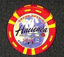 CASINO CHIP BOULDER CITY NEVADA $5.00 HACIENDA GRAND OPENING LE VF++