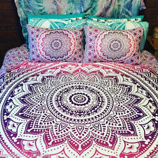 Indian Queen Size Duvet Cover Ombre Mandala Quilt Cover Ethnic Bedding Blanket
