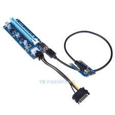 USB3.0 PCI-E Express 1x to16 x Extender Riser Card SATA 6Pin Power Adapter