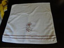 PLUSH KASSA FINA Cream with Brown Embroidered Floral BATH TOWEL EXCELLENT COND