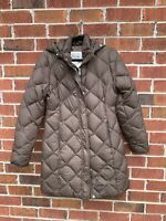 Eddie Bauer 700 Fill Goose Down Quilted Parka women's Brown Hooded Coat Small