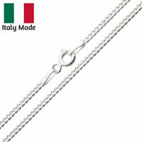 Sterling Silver Diamond-Cut Flat Curb Link Chain Solid 925 Italy Necklace Curb