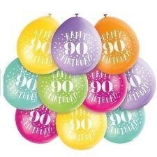 "10 x Happy 90th Birthday 9"" Latex Balloons Mixed Air Fill 90 Party Decoration"