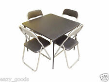 Standard Bridge Card Game Table 4x Padded Metal Folding Black Chairs