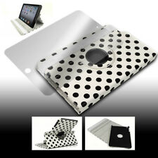 CASE COVER+SCREEN PROTECTOR SWIVEL STAND POUCH PU WHITE DOT IPAD 2ND 3RD 4TH GEN